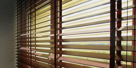 Protección solar formada por dos persianas, una primera en el exterior de lamas regulables y segunda interior de lamas de madera.